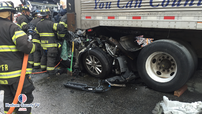 Driver severely injured entrapped after collision with for Hudson county motor vehicle