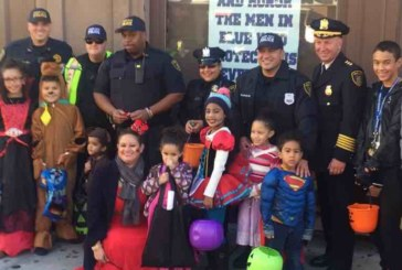 Union City PD Chief Molinari and officers hand out candy on Bergenline Avenue