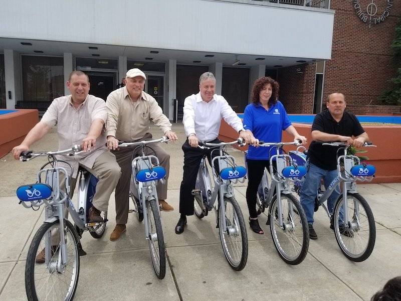 Riding Jersey Bikes: Mayor Jimmy Davis and Members of the Bayonne City Council tried out the new bicycles available in Bayonne and other cities through Jersey Bike, a bicycle sharing program. Jersey Bike will be available in municipalities around the state. Pictured left to right: Second Ward Council Member Sal Gullace, Council Member At-Large Juan Perez, Mayor Jimmy Davis, Council President Sharon Ashe-Nadrowski, and First Ward Council Member Tom Cotter.
